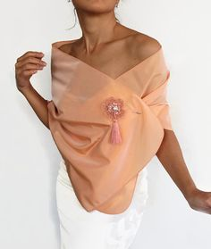 Taffeta Stole Peach Formal Dress Scarf and Brooch by mammamiaeme