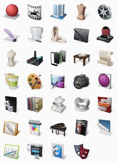 Art Professions Icon Set (34 Icons, PNG)