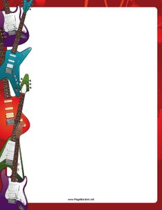Bright, colorful, electric guitars line the sides of this printable border for musicians. Free to download and print.