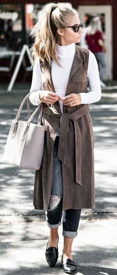 #fall #street #style | Tan Suede Vest + White Top + Denim