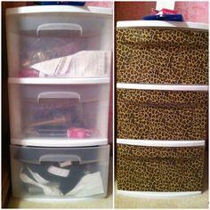 transform plastic drawers using duct tape !