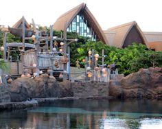 Rainbow Reef snorkeling pool and Menehune Bridge water playground at Disney Aulani Resort.