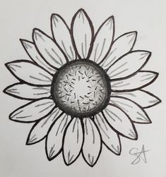 Flower drawing Sunflower Drawing, Sunflower Flower, Sunflower Tattoos, Art Drawings Sketches, Pencil Drawings, Minions, Fabric Paint Designs, Drawing School, Pictures To Draw