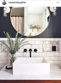 I like the look of this for a small bathroom. Vessel sink, subway tile, darker paint colour and round mirror. #smallbathroom