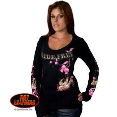 59f5822afe3 Ladies Cherries Scoopneck Longsleeve T-Shirt Biker Shirts