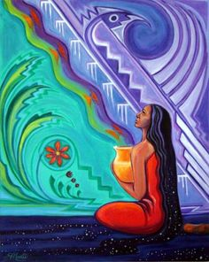The Awakening of a New Consciousness by Eckhart Tolle American Indian Art, Native American Art, American History, Arte Latina, Native American Paintings, Goddess Art, Southwest Art, Indigenous Art, Mexican Art