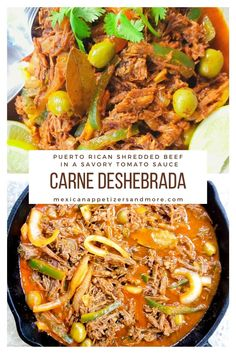 Carne Deshebrada (Shredded Beef) cooked to tender perfection in a savory tomato sauce with onions, peppers, olives and cilantro. Serve with a side of rice for a complete meal! Comfort food at its best! #carnedeshebrada #shreddedbeef #puertoricancarnedeshebrada #ropavieja #puertoricanbeef Mashed Plantains, Shredded Beef Recipes, Beef Round, Mexican Appetizers, Skirt Steak, Tomato Sauce, Olives, Cilantro, Carne