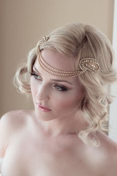Art Deco Bridal Headpiece with Vintage Gold Rhinestone Halo, Seed Bead Leaf Headdress, Bridal Hair Comb Style: Jordan #1408