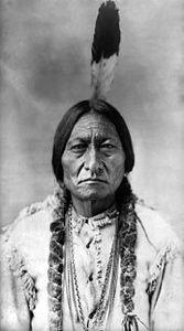 Sitting Bull 1831 - 1890. Hunkpapa Lakota tribe. Victorious at the Battle of Little Bighorn against Custer.