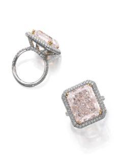 Fancy light purplish pink diamond ring - The cut-cornered rectangular mixed cut fancy light purplish pink diamond weighing 12.85 carats.