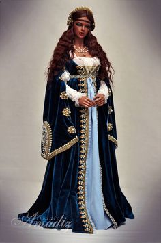 Bjd panenky Tiefblaue Renaissance von amadiz auf DeviantArt The History Of The Wedding Ring Article Renaissance Dresses, Medieval Dress, Renaissance Wedding, Historical Costume, Historical Clothing, Barbie Dress, Barbie Clothes, Fantasy Dress, Doll Costume