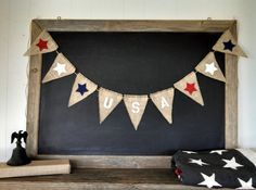 USA 4th of July Burlap Banner StartsTriangle Flag Pennant Bunting Americana Red White Blue Patriotic America Party Sign on Etsy, $38.00
