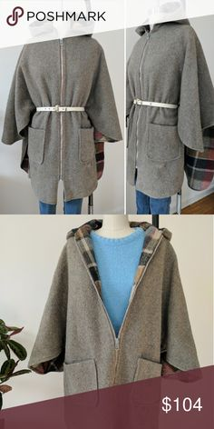 REAL VINTAGE- Plaid Pure WOOL CAPE PONCHO HOODED This is a really cool piece. 100% wool, thick and warm. The outside is a grey wool and the inside is rustic red plaid. Can be worn inside out, belted or loose, for several different looks. I also liked to use a ribbon and tie the front and back belt loop holes together on the sides. Cute little red Riding Hood style hood, for that forest cloak feeling and extra warmth! Sturdy solid metal zipper all the the way up the front. Can fit any size…