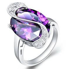 Off Charms Vintage Rings With Amethyst For Women Big Sale 2016 Parties Finger Purple Purple Rings, Silver Rings, Silver Jewelry, Purple Jewelry, Platinum Jewelry, Gold Jewellery, Green Amethyst Engagement Ring, Simulated Diamond Rings, Amethyst Jewelry