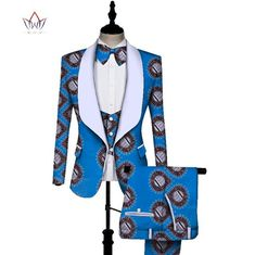 Image of African Print 3 pieces Men sets Dashiki Ankara Top and Trouser & Vest Set Bazin Plus Size Traditional African Clothing African Dresses Men, African Attire For Men, African Men Fashion, African Wear, African Outfits, African Clothes, African Fashion Traditional, Pieces Men, Ankara Tops