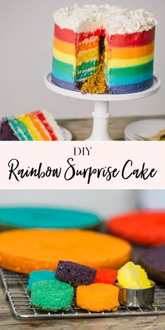 DIY Rainbow Surprise Cake in 2020 (With images) Homemade Birthday Cakes, Cool Birthday Cakes, Homemade Cakes, Birthday Ideas, Mini Cakes, Cupcake Cakes, Cupcake Ideas, Cupcakes, Gluten Free Party Food