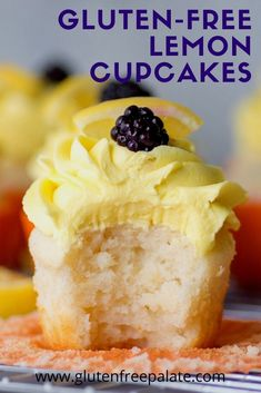 Looking for the best gluten free cupcake? You're going to love these tender, zesty gluten free lemon cupcakes. This gluten free lemon cupcake recipe is super simple to make. Best Gluten Free Cupcake Recipe, Gluten Free Bars, Easy Gluten Free Desserts, Gluten Free Cupcakes, Gluten Free Brownies, Gluten Free Baking, Dairy Free Recipes, Cupcake Recipes, Lemon Cupcakes