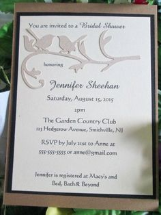 Lovebirds simple elegance country chic unique custom hand made bridal shower invitation by EmptyNestCards on Etsy