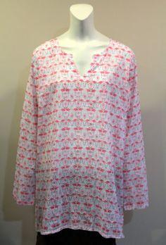 Fresh-Produce-XL-XXL-White-Pink-Flamingo-Tunic-NWT