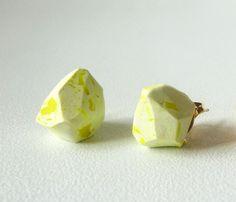 neon yellow and white geo earrings