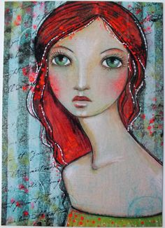 Hello!  This is a postcard of an original painting I did called Gypsy. It measures a little over 4 x 5 3/4. The postcards are glossy so it was hard