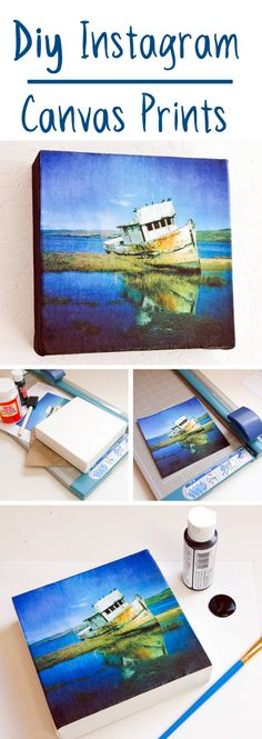Print out your instagram shots or other cool photos on a home printer to make your own canvas prints!