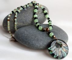 Green & black beaded necklace with round by TwoRavensCrafts, $50.00
