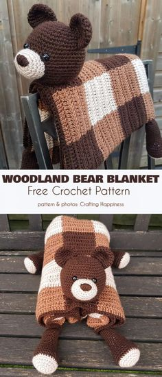 Crochet projects 498773727482161281 - Woodland Bear Blanket Free Crochet Pattern Source by sujetm Crochet Amigurumi, Wire Crochet, Crochet Bear, Crochet Crafts, Crochet Toys, Crochet Projects, Crochet Things, Crotchet, Quilt Patterns Free