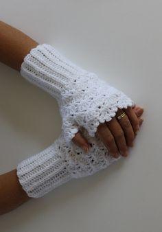 Bianco uncinetto guanti guanti-Natale regalo
