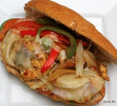 Philly Cheese & Chicken Sandwich - But without the roll.. Top grilled chicken breast with peppers, onions, mushroom and provalone - yum!