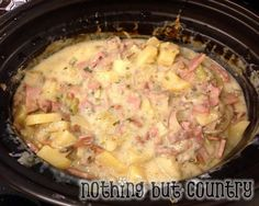 Crock Pot Creamy Ham & Cheese Potato Soup (Made this last night, but instead of adding just the milk, I made a separate rouge with butter, flour, 2 cups milk, 1 cup sour cream, and 3oz colby jack cheese - then added more cheese on the top and cooked for an additional 30mins.) :)