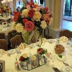 Romantic Reception Decor  Dalhia, Rose, Cala, Zinnia, Dahlia  Crystal & Pearl Accent    Designed by Kuperus Farmside Florist  www.farmsidegardens.com