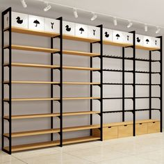 Wood racks design Gondola shelf for boutique store display rack Design Shop, Rack Design, Shop Interior Design, Shelf Design, Retail Display Shelves, Store Shelving, Garage Shelving, Boutique Store Displays, Boutique Stores