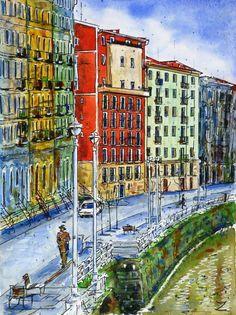 Bilbao La Vieja / Bilbao The Old, watercolour  by Zaira Dzhaubaeva, Russia. Available bpbilbao@gmail.com