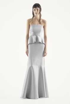 White by Vera Wang   MORE COLORS Strapless Crinkle Chiffon Dress     Satin and matte crepe peplum dress with satin sash Long satin and matte  crepe dress features