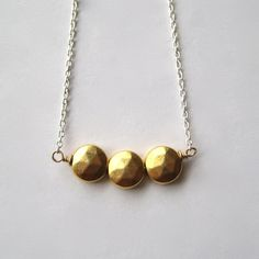 Brass Necklace Faceted GoldPlated Brass Beads by juliegarland, $26.00