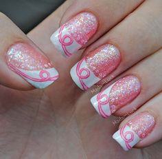 Breast Cancer Awareness Nail Art #slimmingbodyshapers How to accessorize your look Go to slimmingbodyshapers.com for plus size shapewear and bras