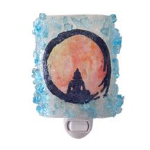 Recycled glass night light features a silhouetted Buddha resting within a warmly lit Zen Circle. Handmade in the USA.