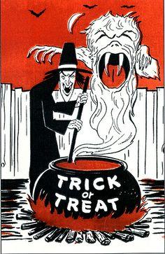 Vintage Trick or Treat Bag Illustration