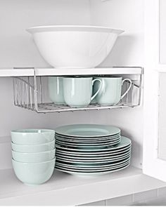 Maximize cabinet space with wire shelves that sit or hang.