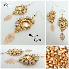 Esquema / patrón 3 en 1 anillo / anillo, BO / aretes y collar / collar ELZA (Francés e Inglés)