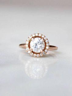 Rose Gold Diamond Engagement Ring | Round Cut Halo Wedding Ring | 14k Rose Gold Anniversary Ring #ad #rosegold #engagementrings