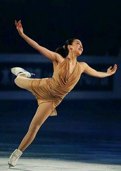Mao Asada, Sochi gala, Gold/ Natural-hued Figure Skating / Ice Skating dress inspiration for Sk8 Gr8 Designs.