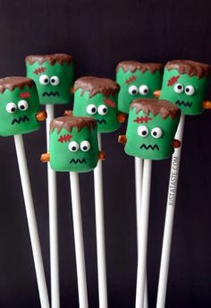 Frankenstein marshmallow pops are a sweet Halloween treat