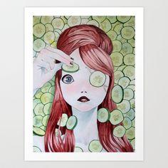 Cucumber girl Art Print by Javier Medellin Puyou aka Jilipollo - $16.64
