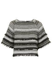 Cropped Fringe Jacquard Top