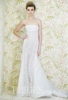 Brides.com: . Wedding Dresses for Petite Body Types: Angel Sanchez. Horizontal details will shorten your frame while a vertical panel, like this delicate lace one, will elongate.   Style N11007, strapless draped empire-waist mermaid wedding dress with a floral beaded center panel, Angel Sanchez