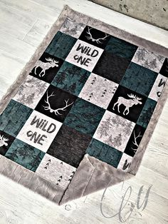 ***Options*** Please read carefully!! Wild one moose with Steele arrow backing. Minky blankets are minky on both sides. Check shop info for turnaround time. Minky Baby blanket - Measures approximately 28x38 inches. Great for strollers, car seats, swaddling etc Minky Toddler/Crib -