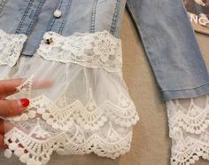 With these five ways to add lace to a denim jacket, create a soft, romantic look in place of harsh denim. From Rain Blanken, your DIY Fashion expert. jacket Outfits Five Ways to Add Lace to a Denim Jacket Sewing Hacks, Sewing Tutorials, Sewing Patterns, Sewing Tips, Girls Skirt Patterns, Embroidery Patterns, Crochet Patterns, Diy Clothing, Sewing Clothes