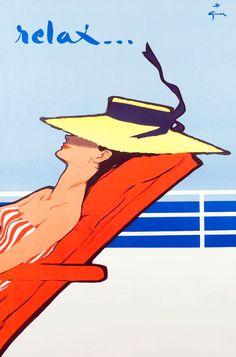 Relax…. Illustration by Rene Gruau, 1954.